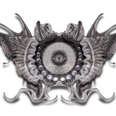 Jellyfish like shaped animal with shiny pearls in it, surreal creature by Kyesos