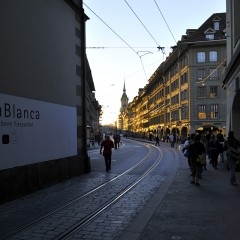 Street view of Bern at sunset by Kyesos